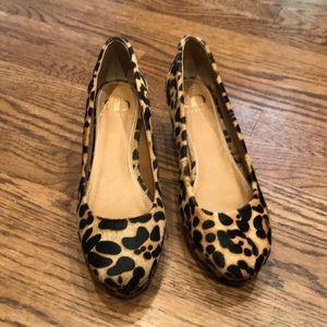 Leopard print calf hair wedges